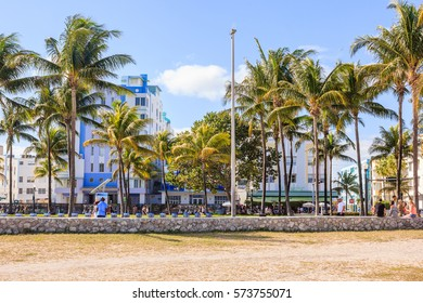 MIAMI, FLORIDA - JANUARY 02, 2017: View along Ocean Drive along South Beach Miami in the historic Art Deco District with hotels, restaurant and bar
