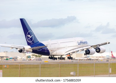 Miami, Florida - January 24, 2020: German carrier Lufthansa A380 super Jet about to touch down at Miami International airport