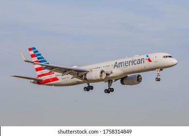 Miami, Florida - January 24, 2020: American Airlines' 757 landing at Miami International Airport
