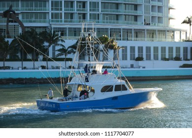 Miami, Florida - January, 4, 2018: View to the boat from Haulover Beach Park in Florida