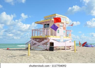 Miami, Florida - January, 4, 2018: Beautiful pink lifeguard house at Haulover Naturist Beach in Florida