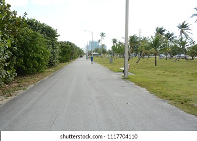 Miami, Florida - January, 4, 2018: Walking path near Haulover Naturist Beach in Florida