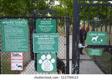 Miami, Florida - January, 4, 2018: Bark Park for dogs near Haulover Beach Park