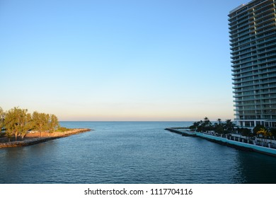 Miami, Florida - January, 4, 2018: Beautiful view to the ocean from the bridge next to Haulover Beach Park in Florida