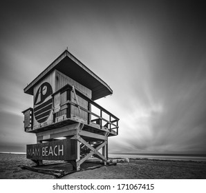MIAMI, FLORIDA - JANUARY 9, 2013: A lifeguard tower on Miami Beach. Each tower on the beach exhibits a unique architecture.