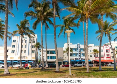 MIAMI, FLORIDA - MARCH 20, 2018: South Beach Miami, Ocean drive view from Lummus Park . EDITORIAL USE ONLY.