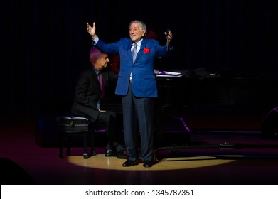 MIAMI, FLORIDA -  MARCH 21, 2019: Tony Bennett in concert at Arsht Center for the Performing Arts Miami.