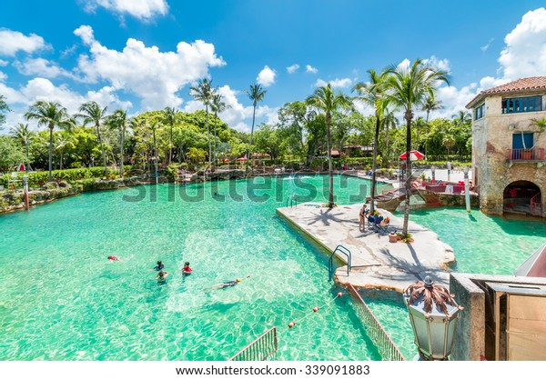 MIAMI, FLORIDA - MAY 13, 2015: Coral Gables Venetian Pool on May 13, 2015 in Miami - Florida.