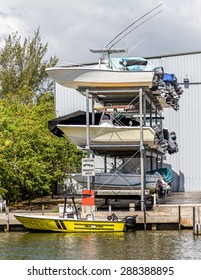 Miami, FLORIDA - May 28, 2015: View of an outdoor storage facilities for pleasure and fishing boats getting ready for the season