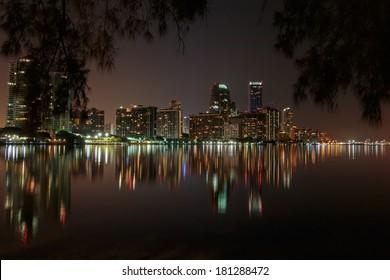 Miami Florida night skyline
