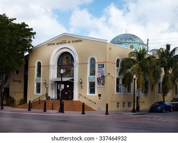 MIAMI, FLORIDA - NOVEMBER 11, 2012: The Jewish Museum of Florida, on Washington Ave. in the South Beach section of Miami, FL.