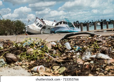 MIAMI, FLORIDA - SEPTEMBER 12th, 2017: consequences of the hurricane IRMA on Miami marina, boat damages.
