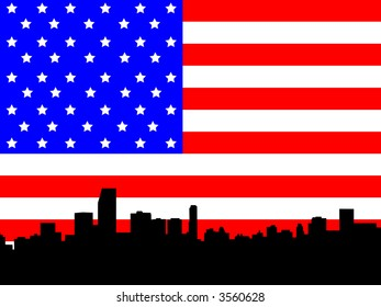 Miami Florida Skyline against American flag illustration JPG
