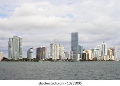 The Miami, Florida skyline viewed from Key Biscayne.