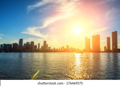 Miami Florida, sunset  with colorful illuminated business and residential buildings