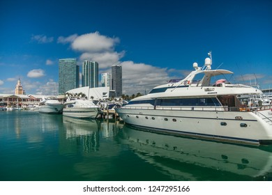 Miami, Florida, United States 01.26.2014 Multi-colored speedboat moored at the pier