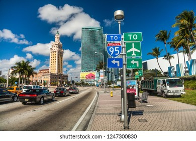 Miami, Florida, United States 01.26.2014 Road sign on the street
