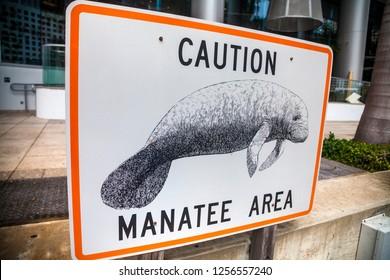 Miami, Florida, United States 01.26.2014 The inscription: Caution manatee area