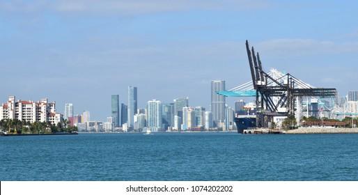 Miami, Florida / United States - April 11 2018: South Florida Container Terminal in Miami