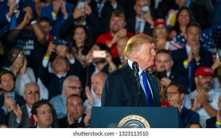 MIAMI, FLORIDA / UNITED STATES - FEBRUARY 25, 2019: President Donald Trump speaks at Florida International University regarding the ongoing crisis in Venezuela.