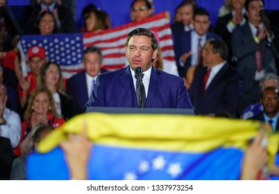 MIAMI, FLORIDA / UNITED STATES - FEBRUARY 25, 2019: Florida Governor Ron DeSantis, speaks at Florida International University about the ongoing crisis in Venezuela.