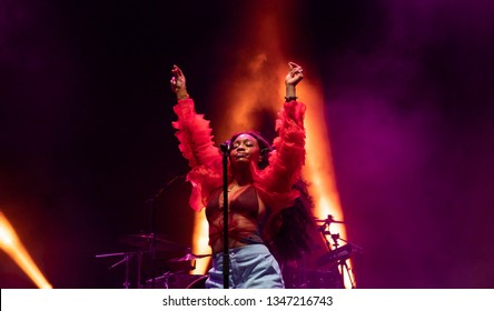 MIAMI, FLORIDA / UNITED STATES - FEBRUARY 17, 2019: Singer SZA performs at III Points Festival in Miami's Wynwood Art District.