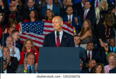 MIAMI, FLORIDA / UNITED STATES - FEBRUARY 25, 2019: Senator Rick Scott speaks at Florida International University about the ongoing crisis in Venezuela.