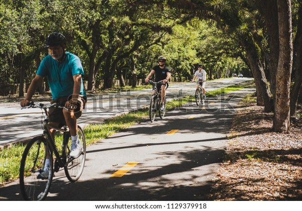 Miami, Florida / United States - July 1st 2018: 11-mile Old Cutler Trail under the cover of magnificent fichus trees and banyans in Miami, with a family of bikers passing by.