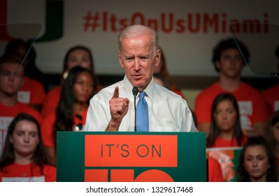 """MIAMI, FLORIDA / UNITED STATES - MARCH 30, 2018: Former U.S. Vice President Joe Biden spoke at an """"It's On Us"""" rally hosted by the University of Miami raising awareness of college sexual assault."""