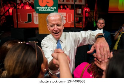 """MIAMI, FLORIDA / UNITED STATES - MARCH 30, 2018: Former U.S. Vice President Joe Biden greets students at the """"It's On Us"""" rally hosted by the University of Miami."""