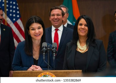 MIAMI, FLORIDA / UNITED STATES - MARCH 27, 2019: Governor Ron DeSantis appoints Michelle Alvarez Barakat and Tanya Brinkley as judges to Miami's Eleventh Judicial Circuit Court.