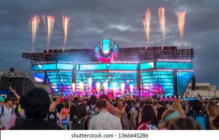 MIAMI, FLORIDA / UNITED STATES - MARCH 30, 2019: Ultra Music Festival at the Miami Marine Stadium in Virginia Key, Florida.
