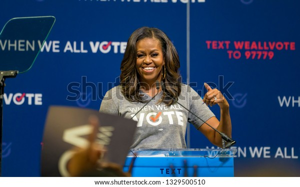 MIAMI, FLORIDA / UNITED STATES - SEPTEMBER 28, 2018: Former First Lady Michelle Obama encourages the University of Miami community to vote in the midterm elections.