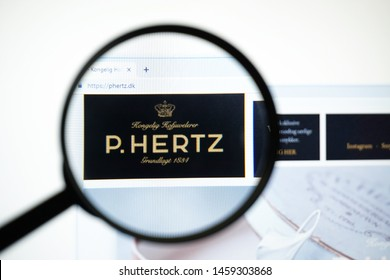 Miami, Florida, USA - 23 July 2019: Official website, homepage of P. Hertz . P. Hertz  logo visible on display screen