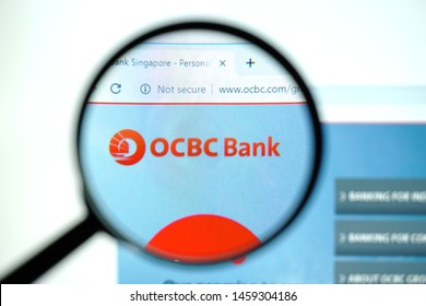 Miami, Florida, USA - 23 July 2019: Official website, homepage of OCBC Bank . OCBC Bank logo visible on display screen
