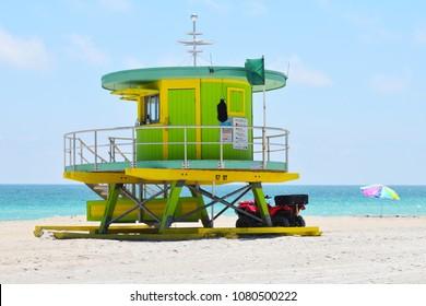 Miami, Florida / USA - April 10 2018:  Lifeguard at Lifeguard Hut on Miami Beach Florida USA