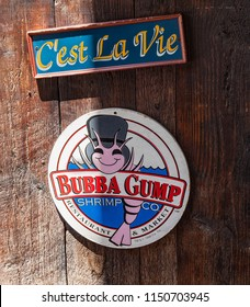 Miami, Florida / USA - April 10, 2014: Logo at the Bubba Gump dign restaurant. The Bubba Gump Shrimp Company Restaurant and Market is a seafood restaurant inspired by the 1994 movie Forrest Gump.