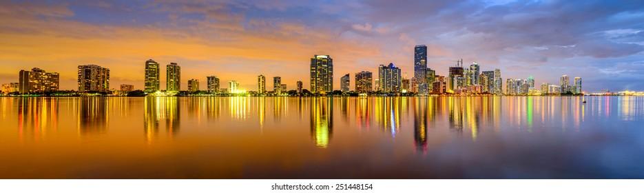Miami, Florida, USA city skyline panorama.
