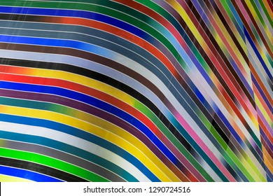 MIAMI, FLORIDA, USA - DECEMBER 15, 2018: Colorful curves of the facade of the SLS LUX Brickell Condos at 805 S Miami Avenue in downtown