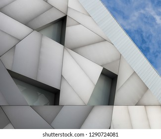 MIAMI, FLORIDA, USA - DECEMBER 16, 2018: Abstract exterior wall of the modern Institute of Contemporary Art at 61 NE 41st Street in the Design District of Miami