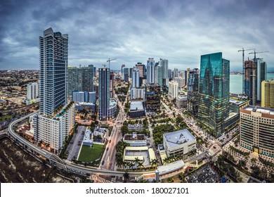 Miami, Florida, USA downtown aerial cityscape.