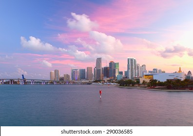 Miami Florida USA, famous travel destination, downtown modern buildings at sunset with colorful sky
