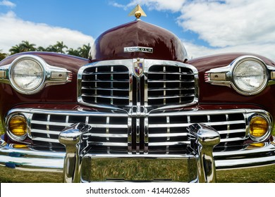 Miami, Florida USA - February 28, 2016: Close up view of the front end of a beautifully restored 1946 American Lincoln Continental.