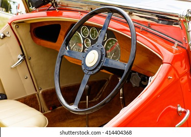 Miami, Florida USA - February 28, 2016: Close up view of the interior of a beautifully restored 1936 Railton Tourer automobile.