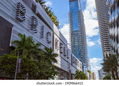 Miami, Florida USA - January 30, 2021: Downtown skyline cityscape with the new Brickell City Centre shopping mall.
