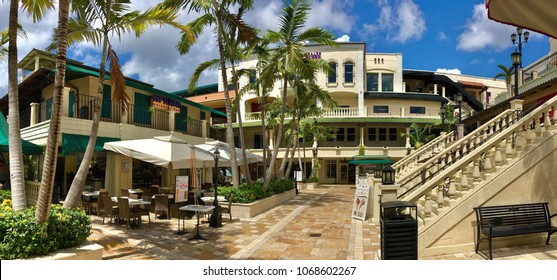 Miami, Florida, USA - July 18, 2016: Coconut Grove is the oldest continuously inhabited neighborhood of Miami in Miami-Dade County
