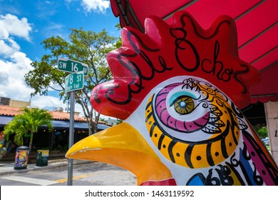 Miami, Florida USA - July 22, 2019: Colorful artwork on display along the popular Calle Ocho in historic Little Havana.