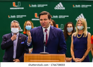 Miami, Florida, USA - June 12, 2020: Gov. Ron DeSantis Press Conference, speaking about situation in Florida state.