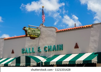 Miami, Florida USA - June 26, 2018: The vintage Ball and Chain, Miami's oldest bar,in Little Havana is a popular tourist destination in the historic Eight Street area.