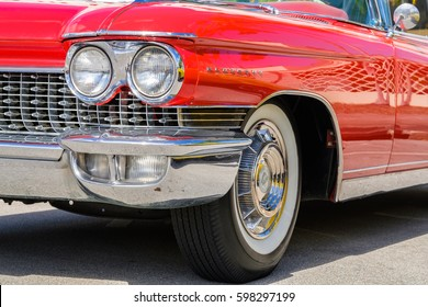 Miami, Florida USA - March 5, 2017: Close up view of the front end of a beautifully restored 1960 Cadillac Eldorado convertible automobile at a public car show.